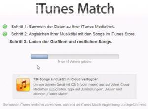 Leider dauert der Abgleich von iTunes Match ewig.