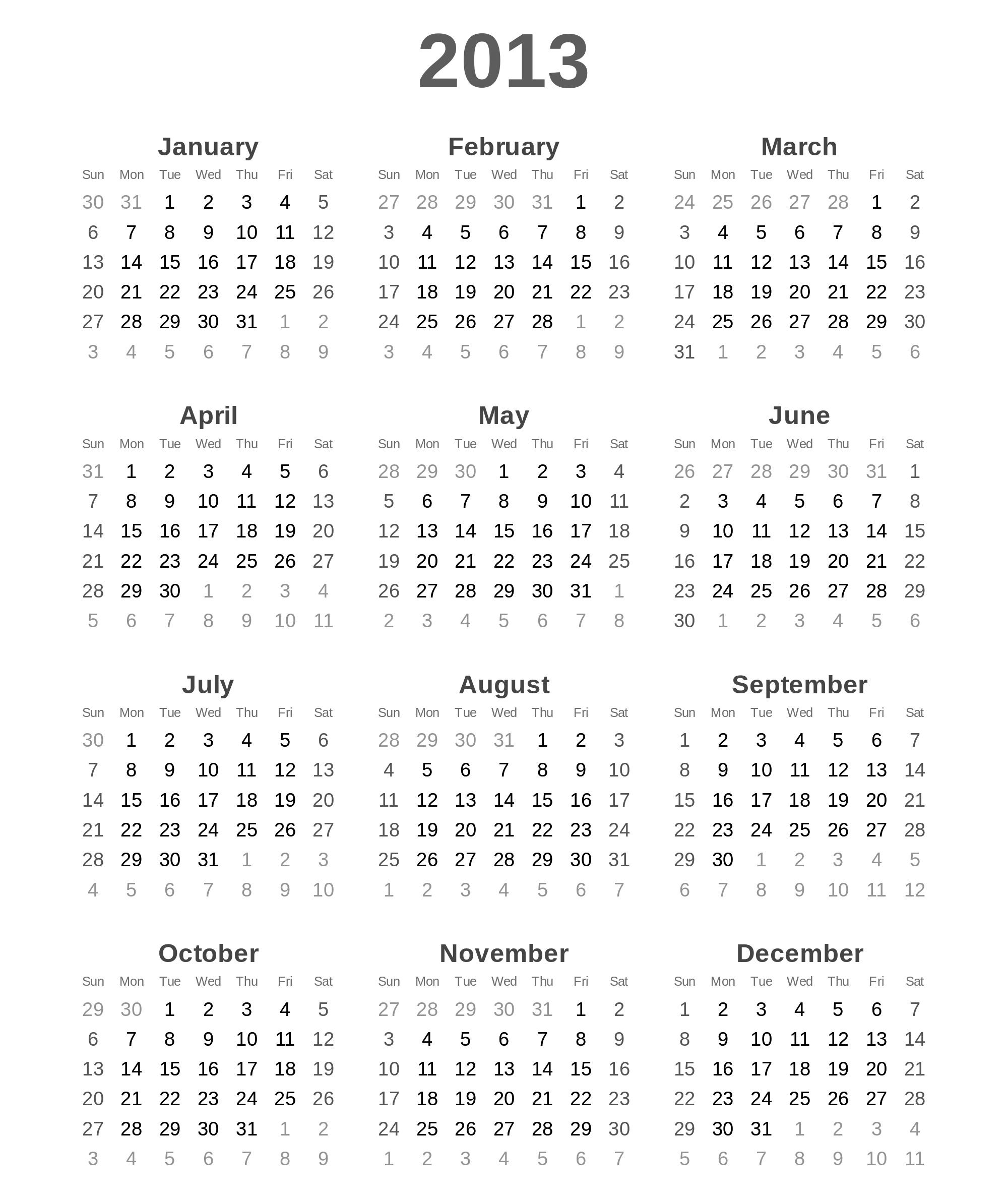 Januar 2013 Kalender Zum Ausdrucken Kostenlos Druckreif Zeitplan