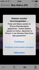 Die App ermöglicht den bequemen Zugriff auf die Inhalte des WLAN-USB-Sticks