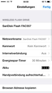Das Sandisk Connect Wireless Flash-Laufwerk bietet in der App zahlreiche Einstellungen