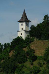 Der Uhrturm ist das Wahrzeichen der Stadt Bruck an der Mur